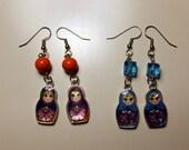 RESERVED Blue Matryoshka earrings
