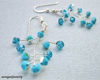 Turquoise earrings Branch earrings Bridal jewelry Sterling silver Wire Wrapped Swarovski crystal Woman jewelry bridesmaid gift
