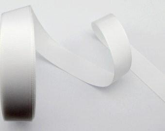 6 YD 1'' white grosgrain ribbon solid color DIY ribbon