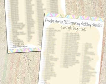PSD Wedding form - photo checklist for photographers professional - Y900 - photography check list marketing form workflow