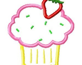 Strawberry Shortcake Machine Applique  Embroidery Design Raggy and Satin Stitched Versions