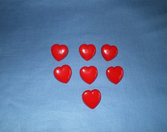 Seven 15mm Red Plastic Heart Shaped Shiny Buttons