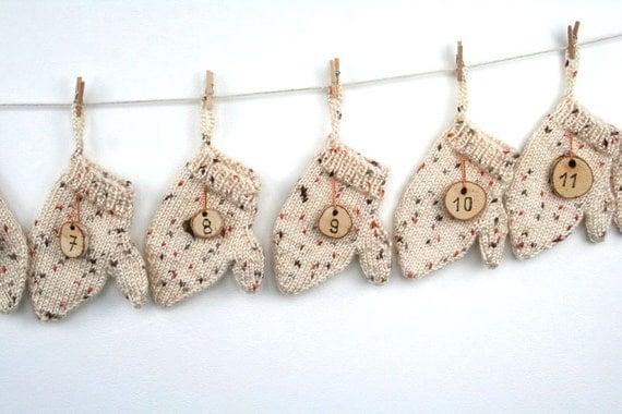 Advent Calendar Handmade Knitting : Handmade advent calendar hand knitted mittens wood