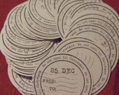 "Letterpress Handprinted Coasters ""Do not Open Till Christmas"" Set of 10   3 1/2 Coasters"