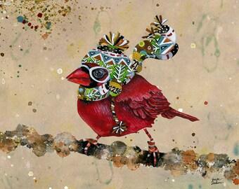 Art Print. Cardinal Blaze. Taupe Sky