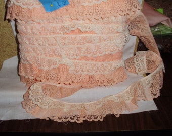 Cotton lace gathered 2 layers slate peach & white 2 in w