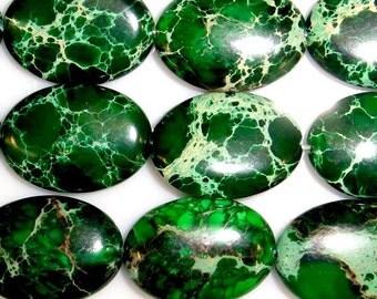 10X14mm Oval Imperial Green Jasper Beads - 7334