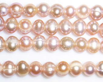 8-9MM Offround Purple Freshwater Pearl 15 inches length, 38 cm-
