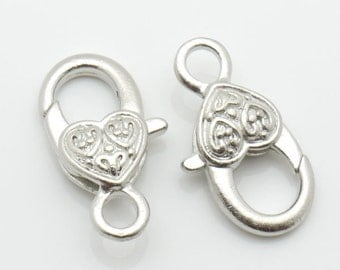 13x17mm Lobster Clasp Heart Silver Tone 10pieces package-