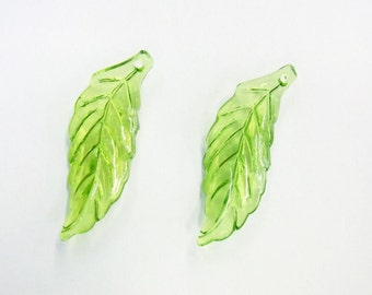 14x40mm Leaf Acrylic Bead - Lot 50 pieces -Necklace - Bracelet - Charm -