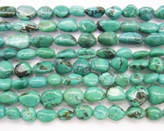 8x12mm Nugget Turquoise Beads Genuine Natural AB Grade 4261- 15''L 38cm Loose Beads Semiprecious Gemstone Bead   Supply