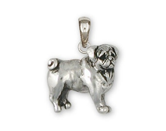 Sterling Silver Pug Pendant  - PG14-P
