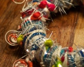 Christmas Wreath - Art Yarn Wreath - Dr Seuss style Candy Canes with Fairy Lights with Free Shipping