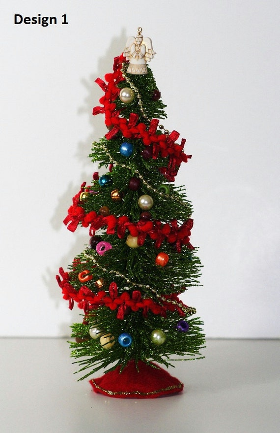 Miniature decorated christmas trees 9 inch tall for Miniature tree decorated with sea shells
