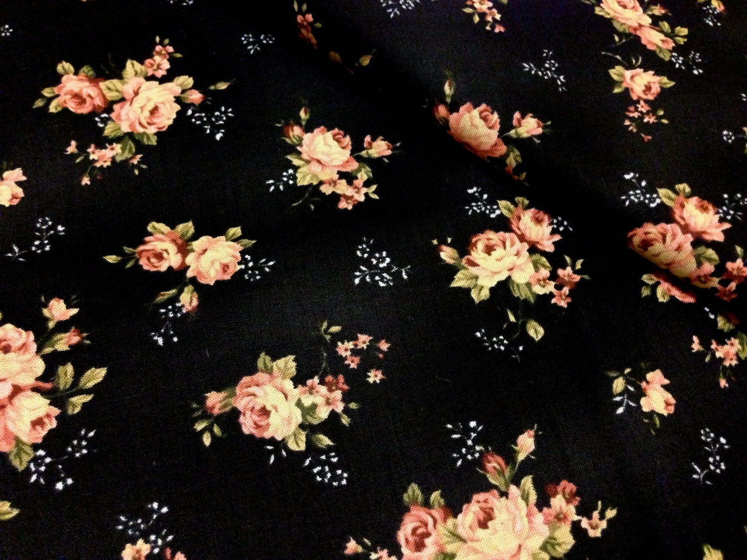 FINAL HALF YARD Black floral cotton fabric pink rose on