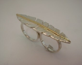 Double finger feather ring