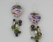 Lavender Moss Handpainted Earrings