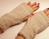 hand knitted fingerless gloves oatmeal colour