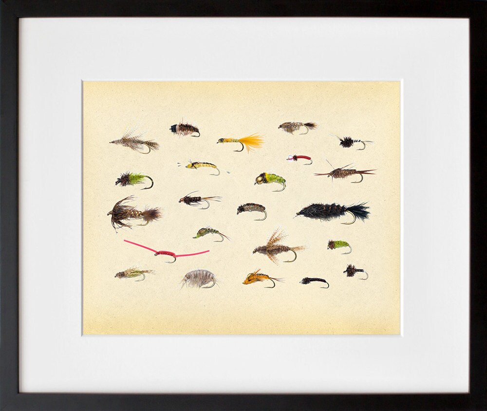 Fly fishing colorful fishing lures art print by pigeoneditions for Fly fishing posters