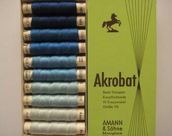 AMANN Akrobat 30/3 10m Pure Silk Thread - Colour - Shades of Blue - 10 spools