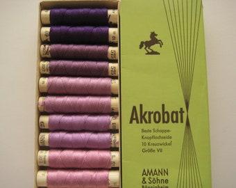 AMANN Akrobat 30/3 10m - Pure Silk Thread - Colour - Shade of Purple - 10 spools