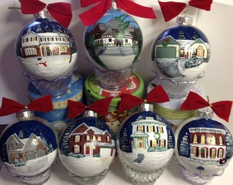 Custom Painted House Ornament 4.5""