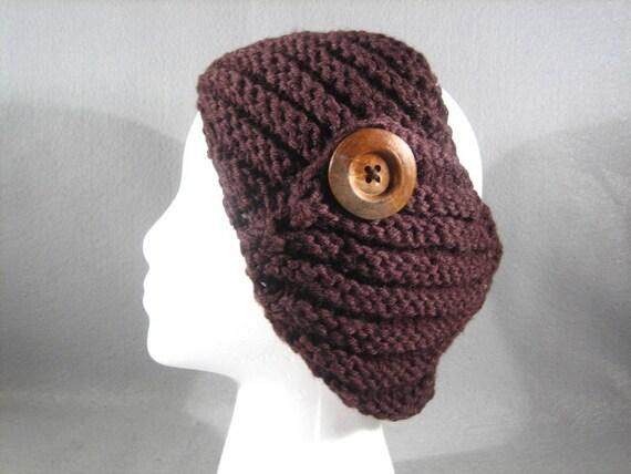 Knit Headband Pattern Button : Items similar to Knitted Headband with Large Button-Knit Headband-Wide Headba...