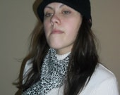 Beautiful Black and White Leopard print Ponte doubleknit scarf