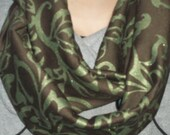 Ponte Doubleknit Green and Brown Infinity Scarf