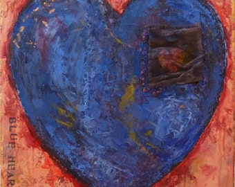 Blue Heart-Mixed Media Painting on Canvas
