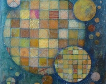 Patchwork Universe-Mixed Media painting on board