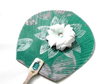 Asian Paper fan - Teal green blossom