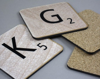 Custom Scrabble Coasters - Made to Order - Personalized