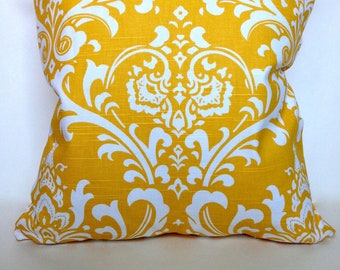 Yellow damask accent pillow cover with zipper, 18x18.""