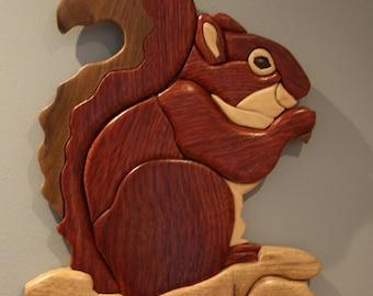 Blood Wood Squirrel Intarsia