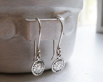 Sterling Silver Decorated Disc Earrings / Decorated Disc Dangle Earrings / Silver Disc Earrings / Sterling Silver Earrings