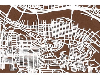 Southside Pittsburgh -- cut paper map (original)