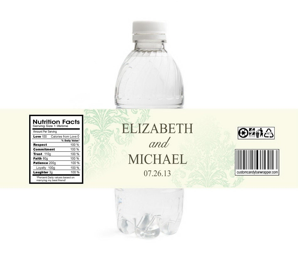 vintage damask wedding water bottle labels by announceitfavors