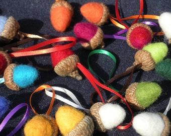 10 (ten) needle felted acorn ornaments