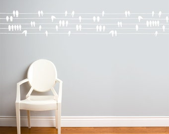 Birds on a Wire - Wall Decal - White