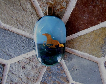 Dichoric Fused Glass 22K Gold Running Horse Necklace