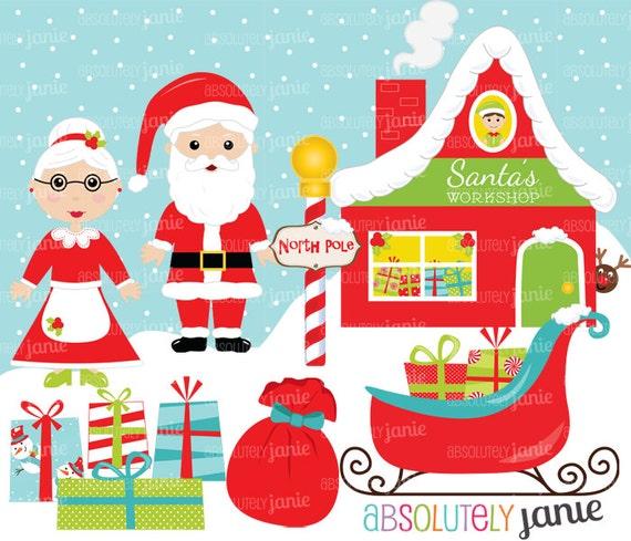 Santa's Workshop Christmas Clipart Set - North Pole - Holiday Digital ...