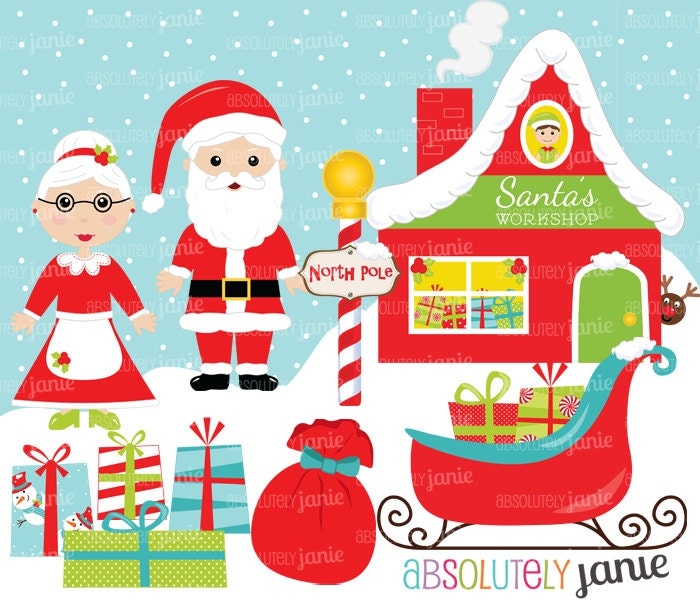 Santa's Workshop Christmas Clipart Set North by ...