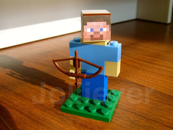 Lego Minecraft Steve Character Figure with Bow and Arrow - Custom Mine Craft Fig