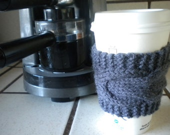 Hand Knit Cabled Coffee Cup Cozy, Sleeve - Gray
