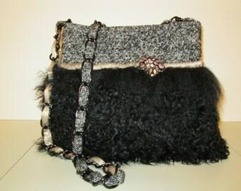 Black Tibetan lamb and tweed bag