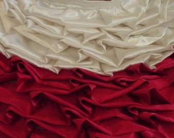42'' Satin Tree Skirt Red and Creme