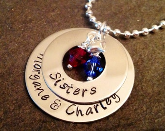 Hand stamped personalized sister necklace with swarovski crystal birthstones and heart charm