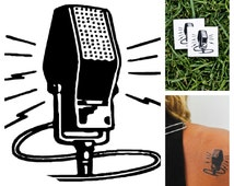 Microphone - temporary tattoo (Set of 2)