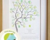 Fingerprint tree teachers gift A4, classroom gift, thank you card, graduation gift, print INCLUDING INKS